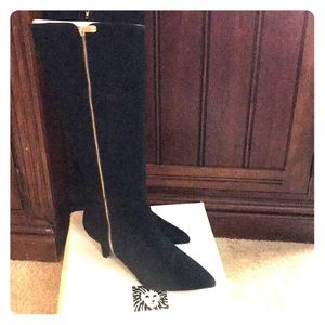 Anne Klein Black Suede Dress Boots